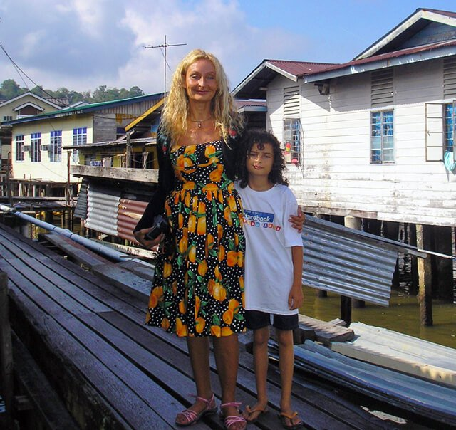 Anne and Cappi Osborne in the water village in Brunei