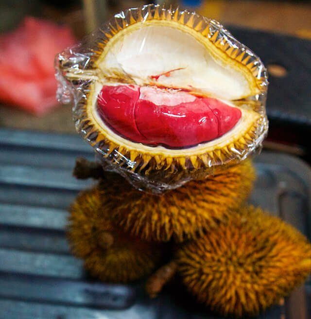 Red durian open and whole