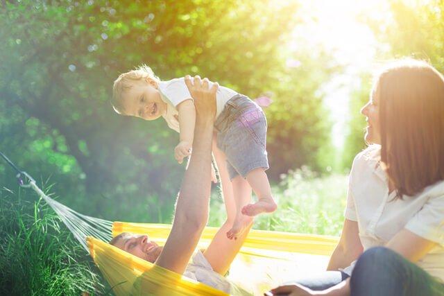 A family having fun outdoors