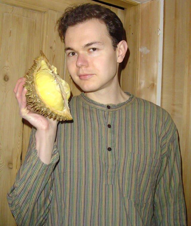 Petr Cech holds a durian circa 2003