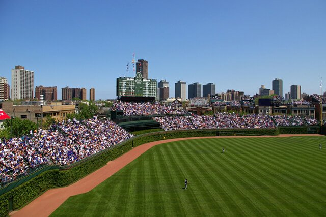 The outfield of Wrigley Field