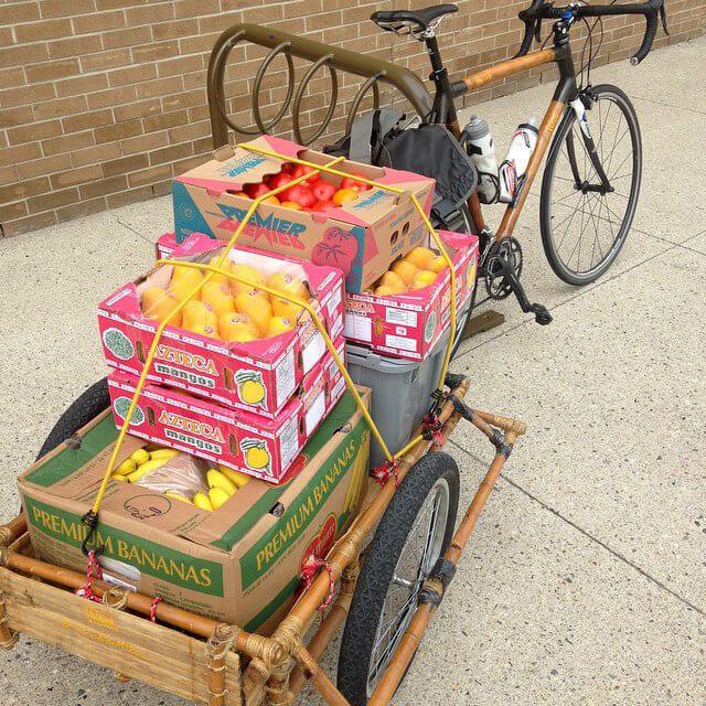 A produce haul on Jon Kozak's bike